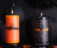 Black and orange halloween candles