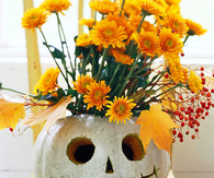 Floral Jack-o-Lantern Halloween Centerpiece