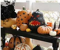 painted and carves pumpkins