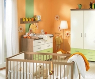 Orange sunny baby room