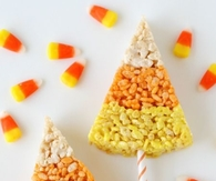 Candy Corn Krispies on a Stick