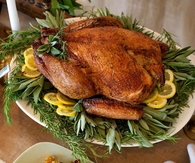 Roast turkey with lemon and sage
