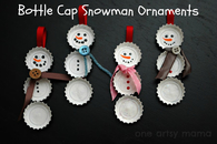 DIY Bottle Cap Snowmen