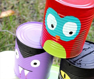 Paint soup cans to make scary monsters
