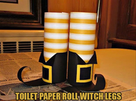 Toilet paper roll witch legs