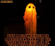 Glow stick in a balloon for ghost
