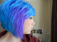 Sky blue and purple short cut