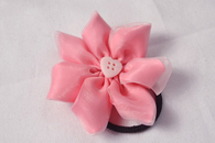 Pink Ribbon Flower Hair Ties