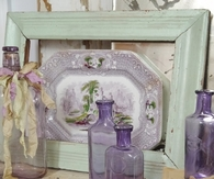 Antique Bottles & Lavender Serving Tray
