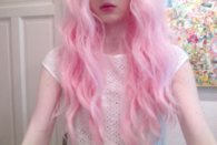 Light pink curly hair