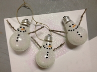 DIY Glitter Snowmen Ornaments