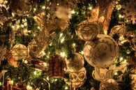 Golden festive ornaments