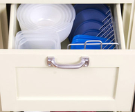 Wire CD Racks to organize tupperware lids