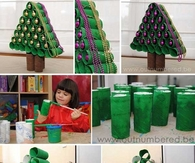 Christmas tree out of toilet paper rolls