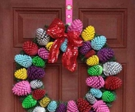 Colorful pinecone wreath