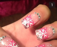 Pink sparkly snowflake nails