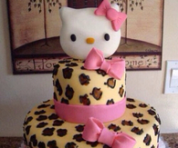 Leopard print hello kitty cake