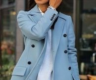 Blue Jacket paired with Jeans and Heels