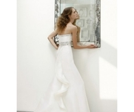 A-line Strapless Beading Brush Train Organza Wedding Dresses
