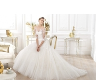 Empire A-line 3/4Length Sleeve Scoop Lace Motif Brush Train Tulle Wedding Dresses