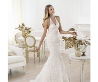 Sexy Halter Sheath/Colum Mermaid Backless Lace Fabric Brush Train Wedding Dresses
