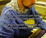 Using hoodie for snacks