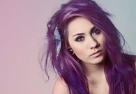 Messy purple hairstyle