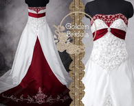 Embroidery Colored Basque red Wedding dress