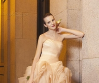 Strapless Cascading Ruffles Wedding Dress