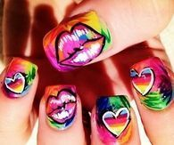 Artistic kiss and heart nails