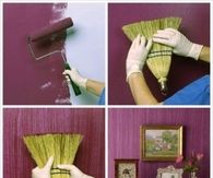 DIY Textured Painted Wall With A Broom