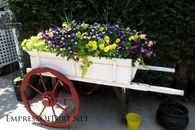 Old wooden wagon planter