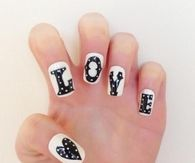 Black and white Love nails