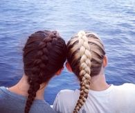 Brunette and blonde fishtail braids