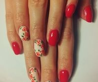 Floral red and white nails
