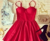 Red Summer Mini Dress with Accessories