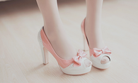 Pink and White Pumps with Bows
