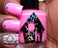 Pink leopard print accent nails