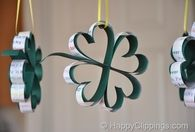 Hanging paper four leaf clovers