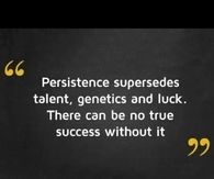 Persistence supersedes talent, genetics and luck