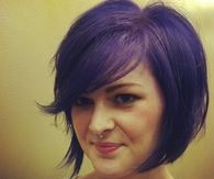 Purple colored short cut