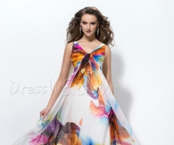 Brilliant A-line Floor-length V-neck Sleeveless Pattern Prom Dress