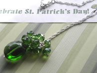 Green sparkle cluster necklace - Holiday green fashion necklace