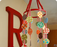 Fabric circle, beads and ribbon mobile