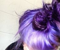 Purple messy bun