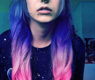 Purple to pink gradient hair