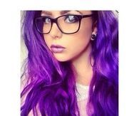 Purple hair girl with glasses
