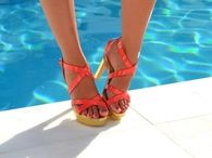 Orange & Gold High Heel Sandals