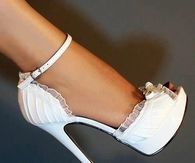 Pretty White Stilettos Edged in Lace