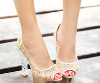 Open Toe Crystal High Heels
